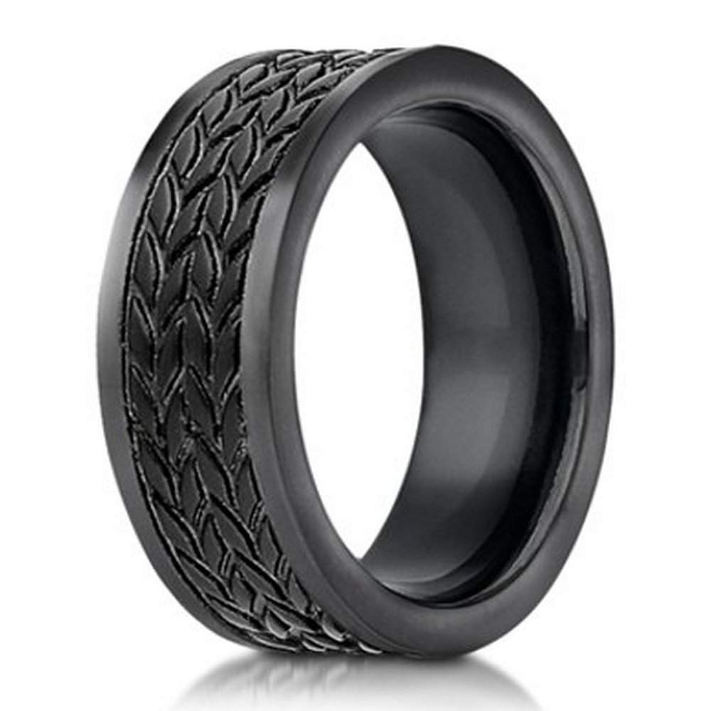 Designer Cobalt Chrome Mens Ring Tire Tread Pattern 75mm