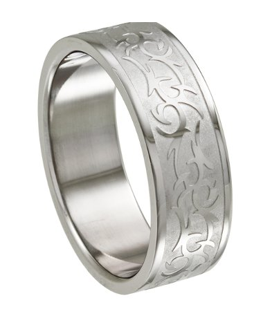 Stainless Steel Ring For Men With Tribal Design 85mm