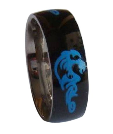 Black Stainless Steel Ring With Blue Dragon Design