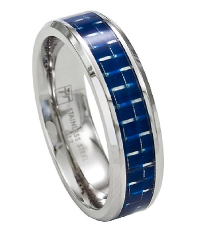 Stainless Steel Mens Wedding Band Promise Ring WBlue