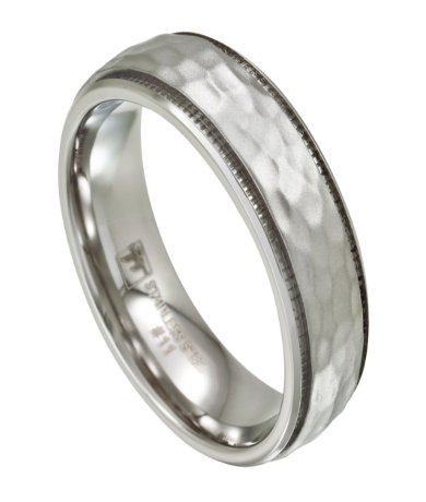 Mens Stainless Steel Wedding Band Artisan Hammered