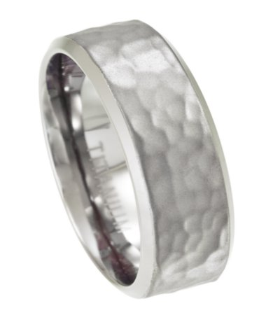 8mm Mens Titanium Wedding Ring With Hammered Texture