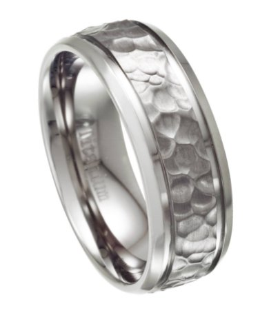 8mm Hammered Ring For Men In Titanium With Polished