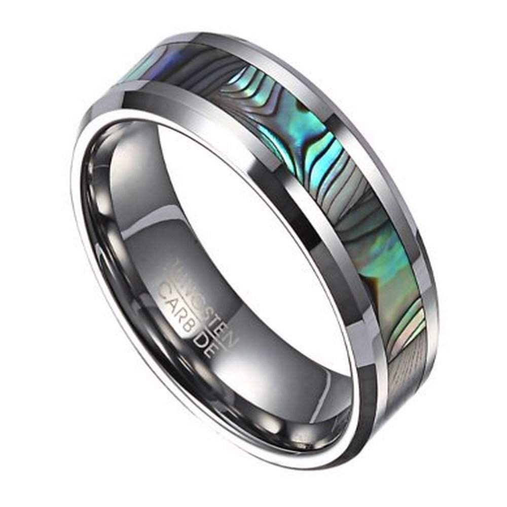 8mm Mens Tungsten Ring With Abalone Shell Inlay