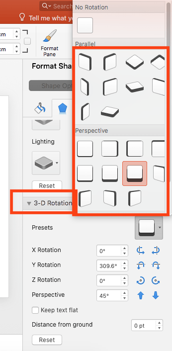 Select '3D Rotation' options