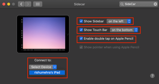 Sidecar options to work on iPad