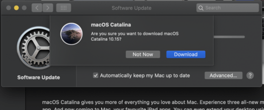 Downloading macOS Catalina in System Preferences