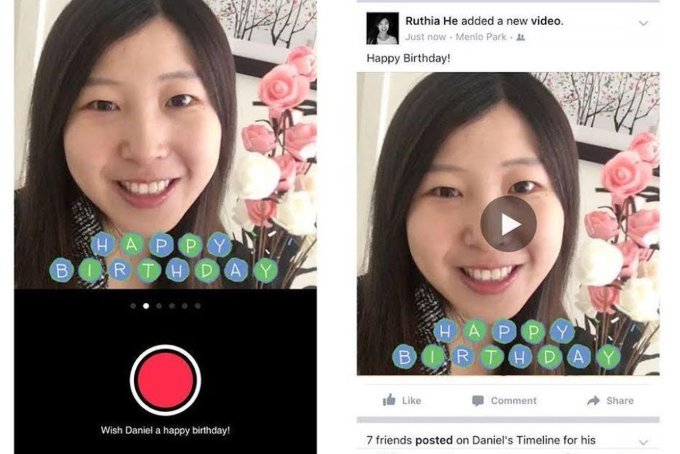 Facebook adds a birthday video cam for sending 15-second messages to friends