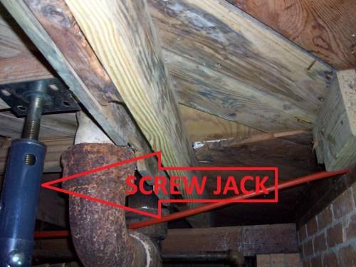 A 20 ton bottle jack is your answer to subfloor and floor joist repairs on a pier and beam house.