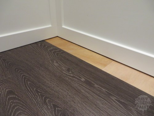 Installing click-lock laminate flooring without removing baseboards is not covered in the installation instructions.