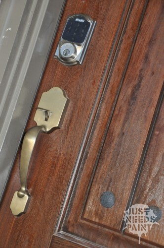 Schlage Smart Connect Deadbolt looks pretty on this gorgeous door with the iron nail heads.