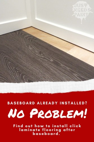 How to install click-laminate flooring after installing baseboard.
