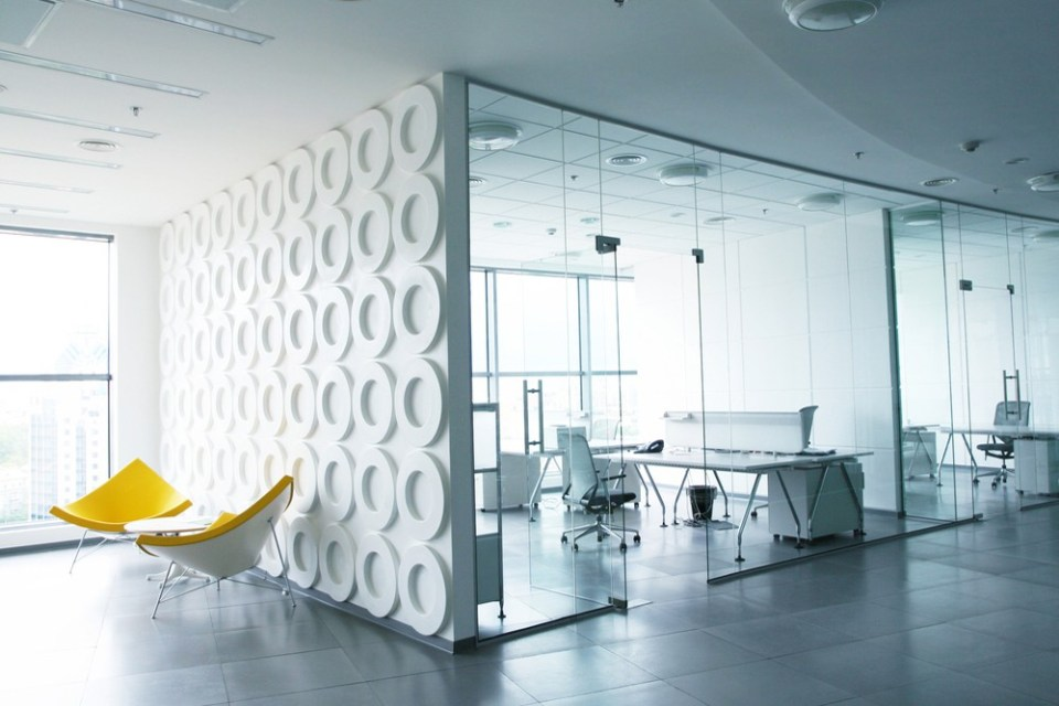 Stark White Office with Yellow Chairs