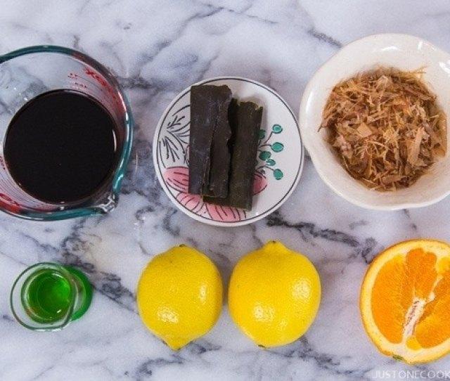 Ponzu Sauce Ingredients Containing Kombu Lemon Bonito Flakes Mirin And Soy Sauce