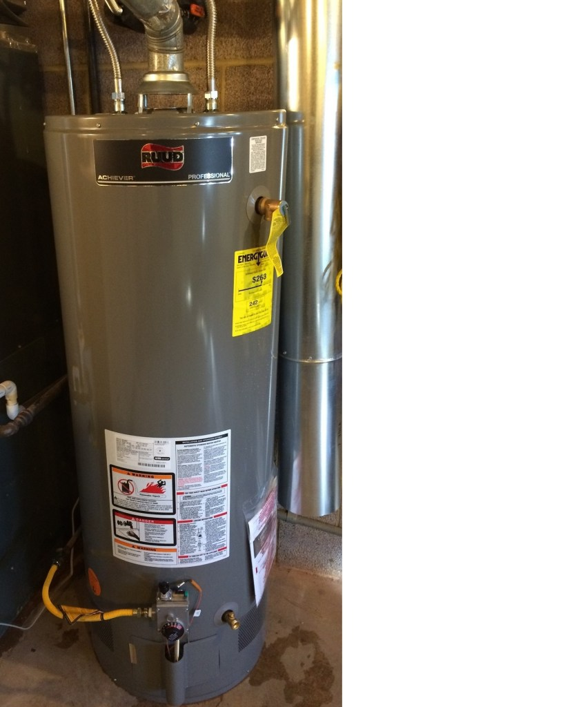 The new 50 gallon hot water heater