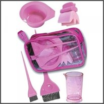 pink color bowl and brush set