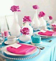 pink and teal wedding decor