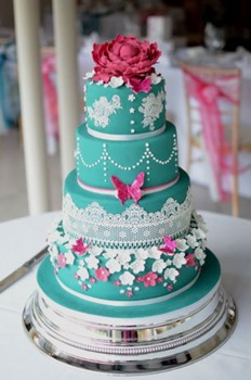 pink and teal cake