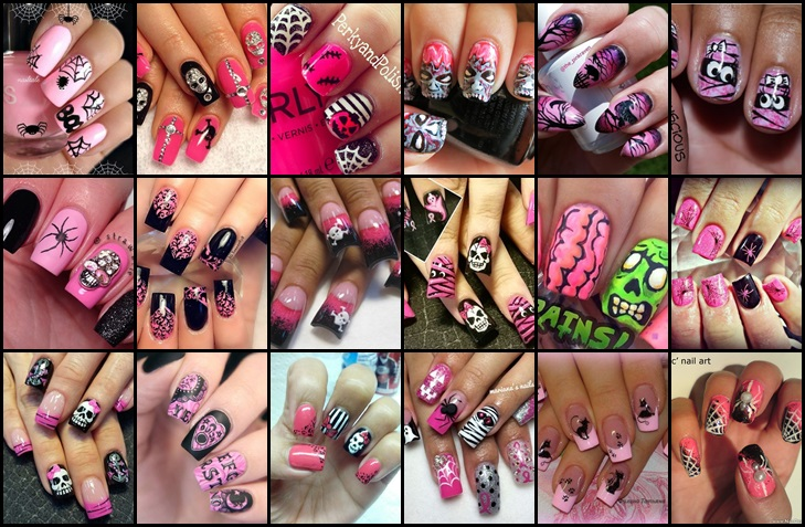 pink halloween nail art designs