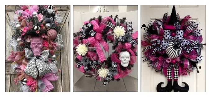 pink skull door wreath-