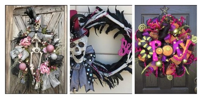 skeleton door wreath-tile