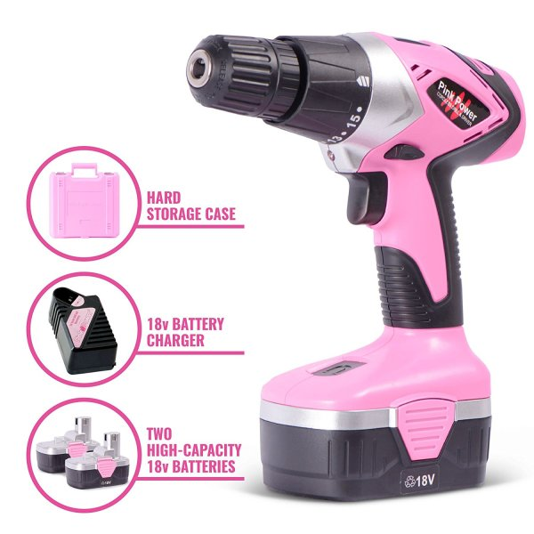 Pink Power 18V Cordless Electric Drill Driver Set