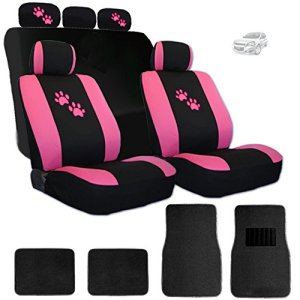 Pink Paws Logo Front Rear Car Seat Covers Floor Mats
