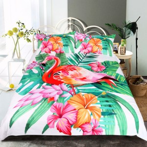 Flamingo Tropical Plant Bedding Set