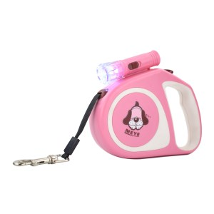 Pink Retractable LED Lighted Dog Leash