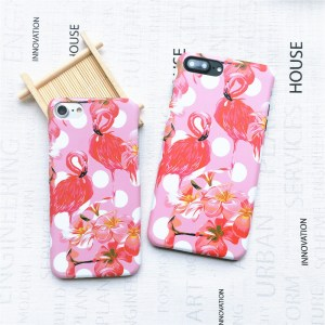 Fashion Pink Flamingos Flowers Matte iPhone Case