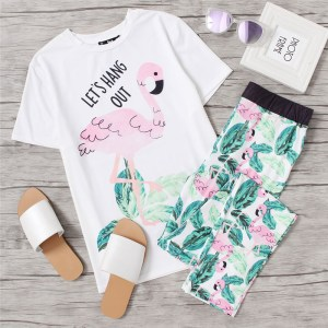 Cute Pink Flamingo Jungle Leaf Print Pajama Set