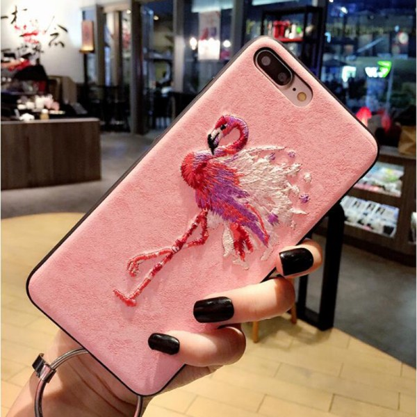Luxury Embroidered 3D Pink Flamingo iPhone Case