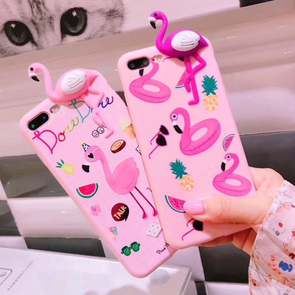 Pink Flamingo 3D Soft Silicone iPhone Case