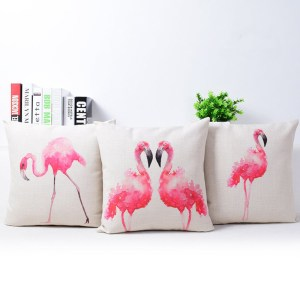 Pink Flamingo Printed Square Linen Cushion Cover