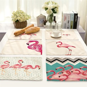 Pink Flamingo Printed Linen Table Place Mats