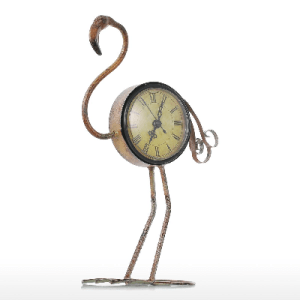 Metal Vintage Flamingo Figurine Handmade Clock