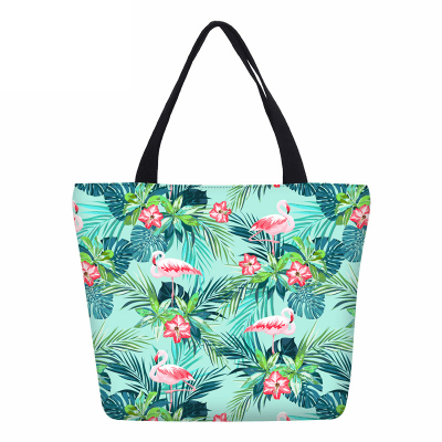 Women's Tropical Pink Flamingo Printed Tote Bag
