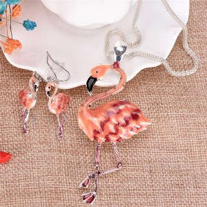 Fashion Flamingo Pendant Earrings Necklace Set
