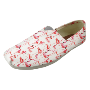 Women's Pink Flamingo Design Casual Canvas Loafers