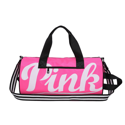 Women's Pink Letter Sports Duffel Bag