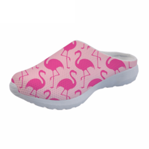 Women's Pink Flamingo Mesh Slide-On Shoes