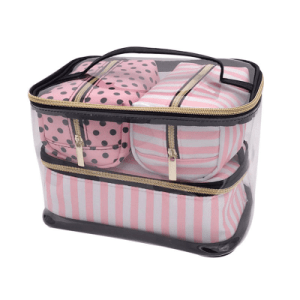 Women's Pink Stripe PVC Cosmetic Travel Bag Set