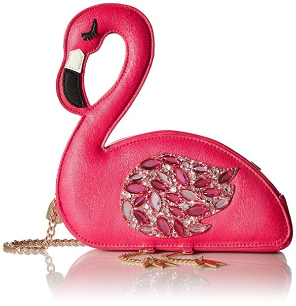 Betsey Johnson Pink Jewel Flamingo Bird Crossbody