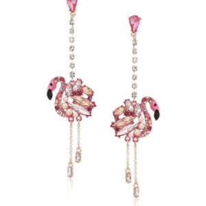 Betsey Johnson Rose Gold Pink Flamingo Drop Earrings