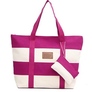 Women's Pink Stripe Canvas Tote Handbag