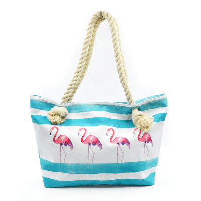 Women's Flamingo Design Large Canvas Tote