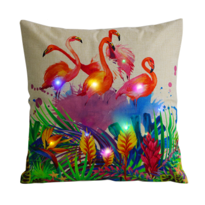 LED Lighted Flamingo Design Pillow Cover