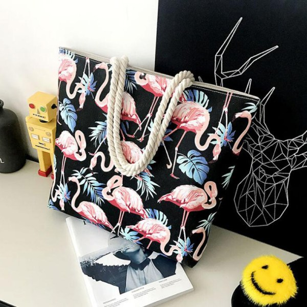 Women's Pink Flamingo Print Canvas Beach Tote