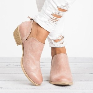 Women's Pink Fashion Summer Ankle Boots