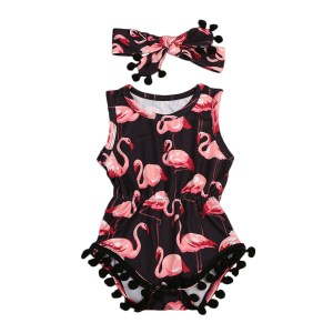 Girls Newborn Infant Baby Sleeveless Flamingo Romper